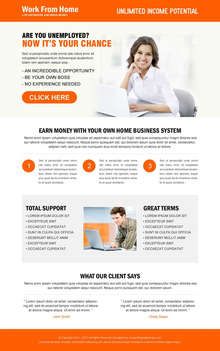 Earn money with your own home based system attractive landing page design to maximize your leads for How to earn money in home design