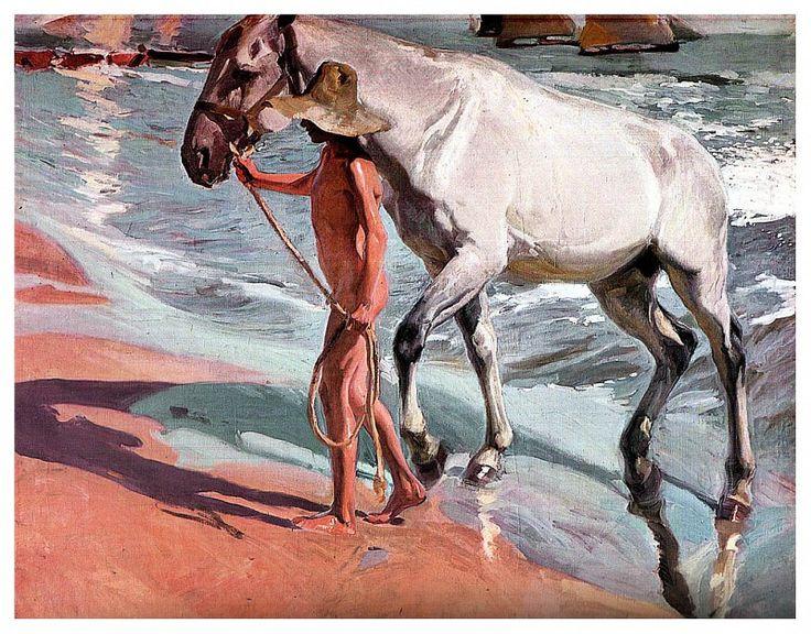 Белый конь или купанье коня, 1909. Хоакин Соролья
