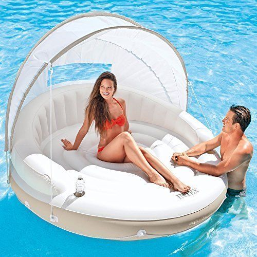 Swimming Pool Inflatable Floating Luxury Lounge Float Couch Relaxing Sun Shade #FloatingLounge