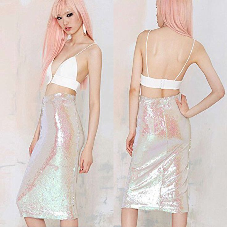 Pretty pink sequin high waisted skirt  http://amzn.to/2lj9uVW