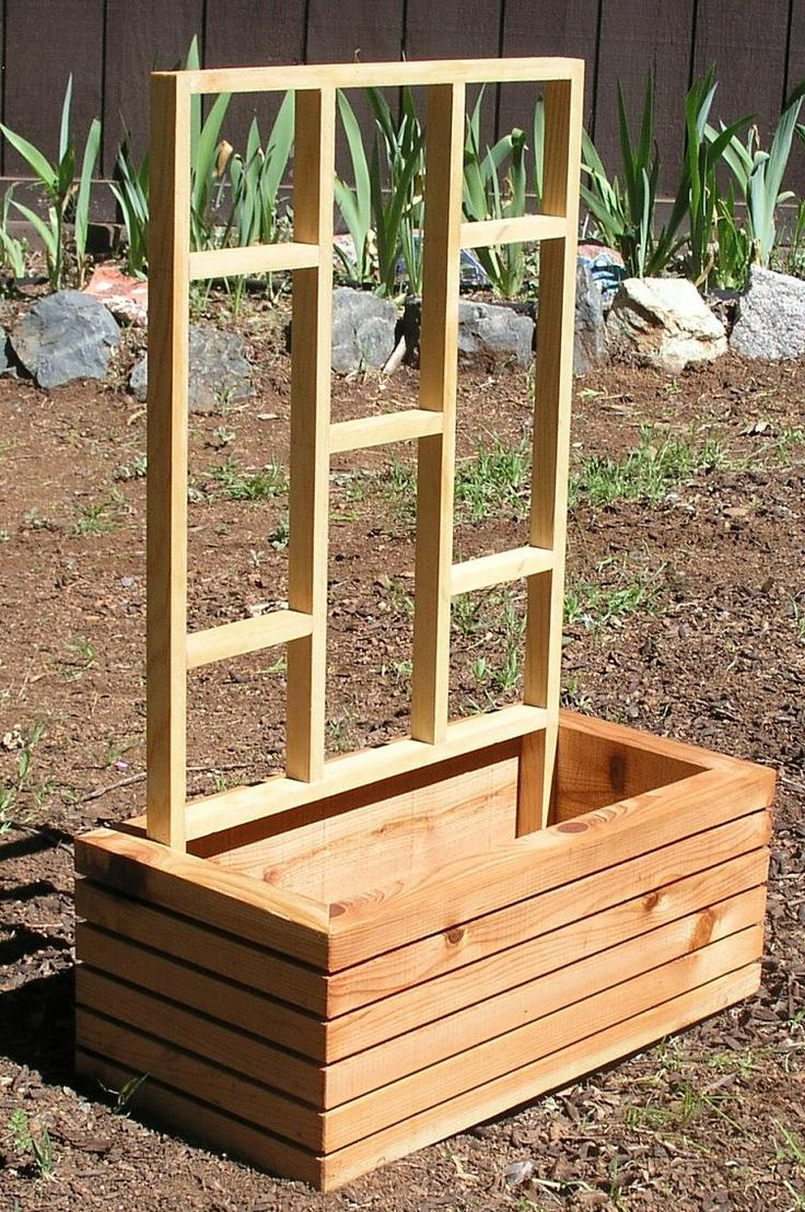 """This modern style planter can be made in any size, thickness, and shape you like. They're made from California harvested incense cedar, milled in Grass Valley California that is 10 minutes from my shop. I also build them in hardwood, re-clamed, barn, and salvaged woods. The one shown is 20"""" wide by 8"""" high by 10""""deep with 1.75"""" thick solid stock construction.  A trellis can be custom fitted to each individual planter for an additional charge."""