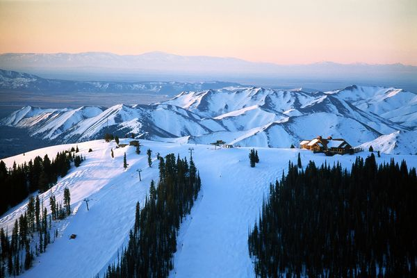 Picture of the Sun Valley Lodge at sunrise in Idaho...My home~ Laura