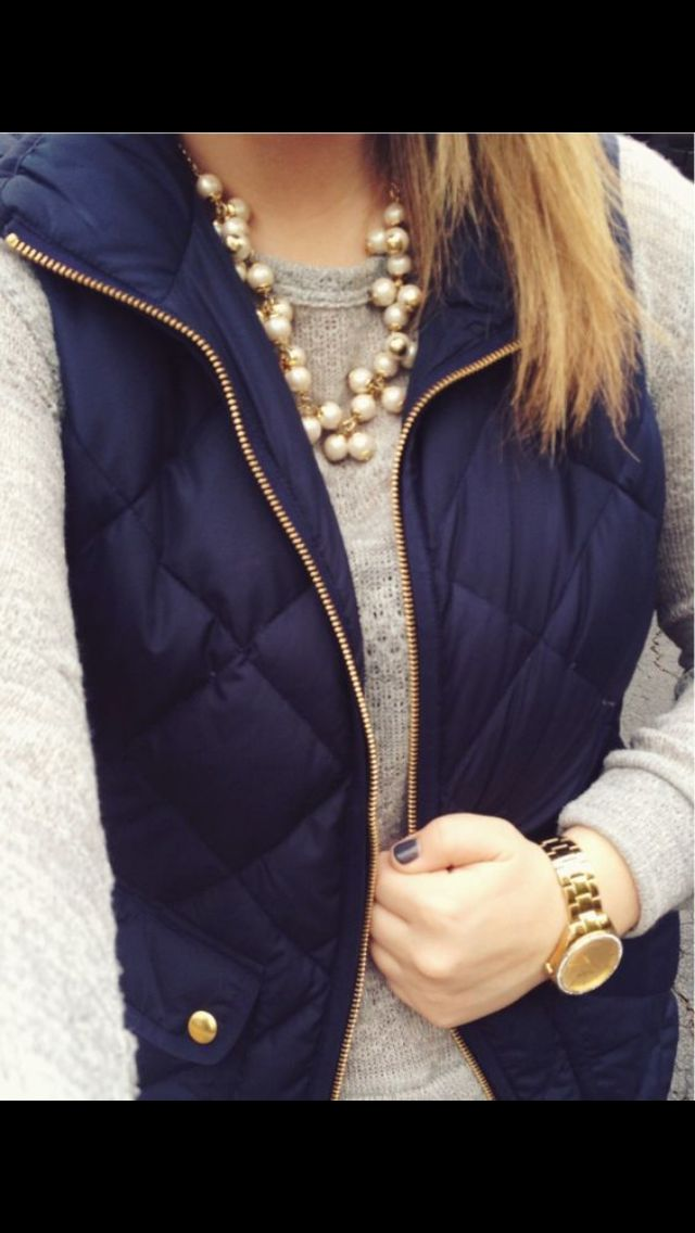 Navy puffer with gold details, beige sweater and pearls. Preppy Fall Fashion Stitch Fix Get your own personal stylist for $20! :)