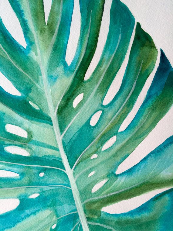 Monstera Leaf Original Painting 22x19 Acrylic on