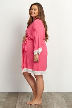Fuchsia Lace Trim Plus Size Delivery/Nursing Maternity Robe