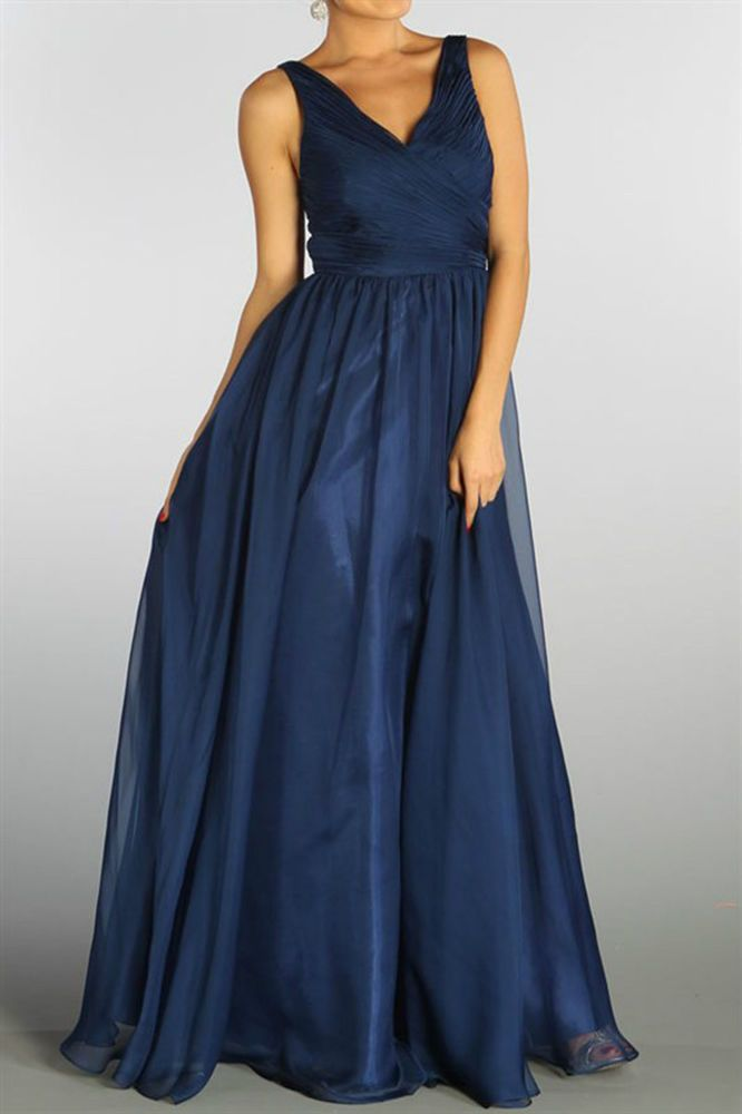 New V-Neck Sleeveless A-Line Chiffon Formal Gown Bridesmaed Dress Navy Blue
