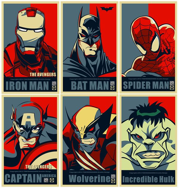 Superheroes Posters with Obama Hope Style