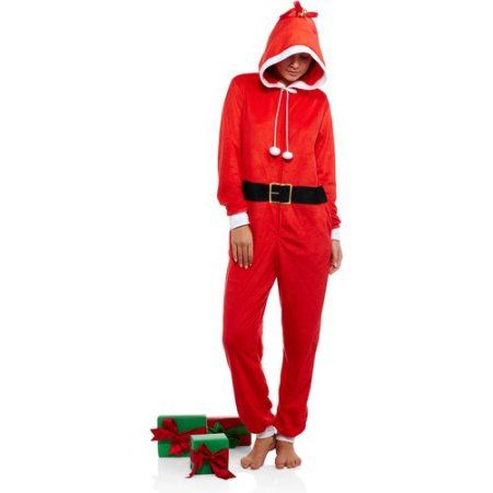 Body Candy Juniors Holiday Microfleece Sleepwear Adult Onesie Costume Union Suit Pajama with Applique Hood, Size: Small, Red