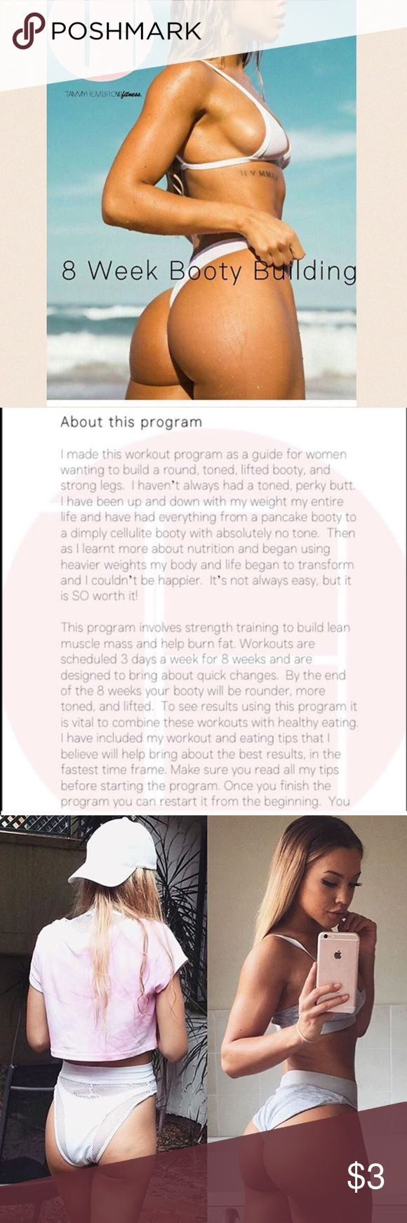 Tammy Hembrow 8 Week Booty Workout READ BEFORE PURCHASING. Pay through ️️ f&f not through here or I will issue refund. 8 week booty building workout. Very effective. You can send the $3 payment through PayPal friends & family (vdenham02@gmail.com). Then just comment payment sent and I will email the link. Other