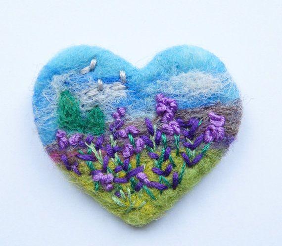 Needle felted brooch, 'Lavender Meadow' pin, Felt Brooch, wool, Love, Mother, Heart, Summer, Purple, Choose Pin Shape