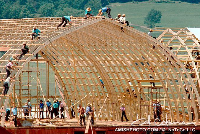 One Days Work IV barnraising arched barn summer | Amish ...