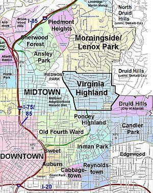 Atlanta neighborhoods. Out of the neighborhoods shown here, I've lived in: Virginia Highland, Morningside and Druid Hills--I also lived in Brookwood Hills.