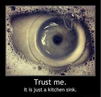 Optical illusion - THAT IS SIMPLY AMAZING IF NOT A LITTLE GRUESOME OUI!! ONE HAS TO WONDER WHO ACTUALLY SEES THESE IMAGES , OUI!! (it is in REALITY!!) WATER GOING DOWN A PLUG HOLE!! - who would have thought!!! ✳✳✳