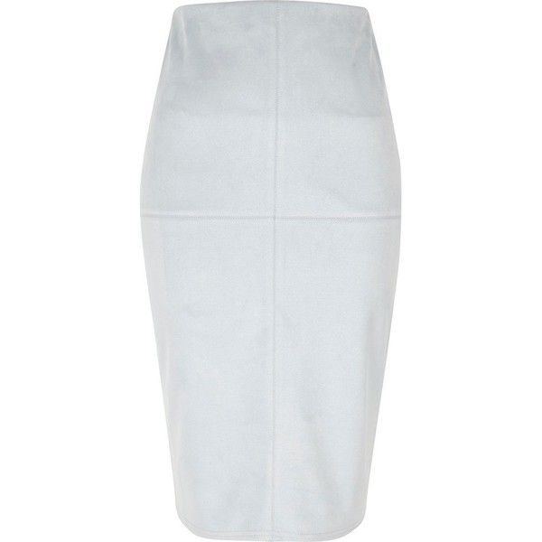River Island Light blue faux suede pencil skirt ($60) ❤ liked on Polyvore featuring skirts, blue, midi skirts, women, faux suede midi skirt, elastic waist skirt, tall skirts, midi pencil skirt and midi skirt