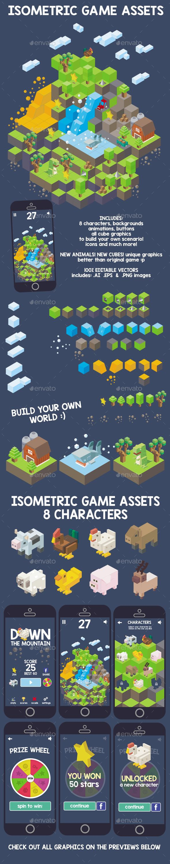 Isometric Game Assets - Down The Mountain - Game #Kits #Game #Assets | Download http://graphicriver.net/item/isometric-game-assets-down-the-mountain/14350697?ref=sinzo