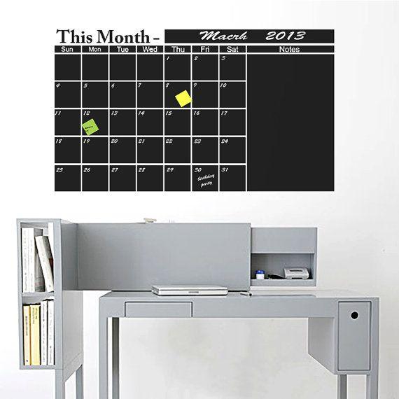 Chalkboard wall Calendar Vinyl Decal Organize Your by FabDecals, $56.00