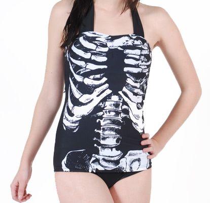Ribbenkast skelet badpak zwart