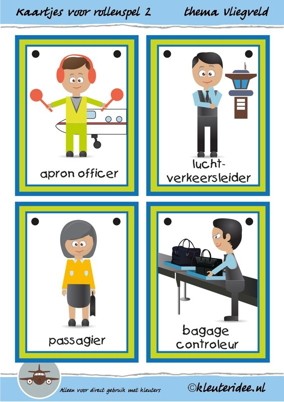 Kaarten voor rollenspel 2 in de hoeken bij thema vliegveld voor kleuters, juf Petra van kleuteridee, free printable.