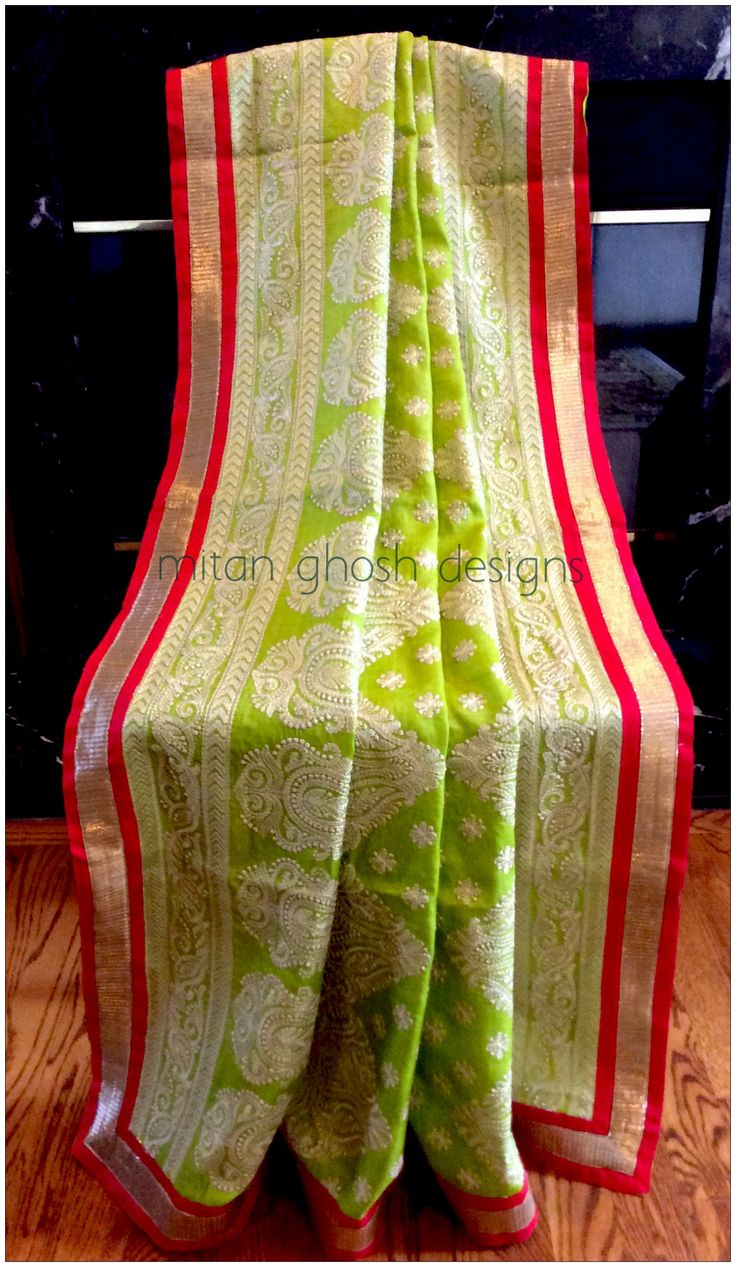 Tussar silk with lucknowi work.