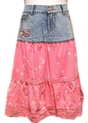 Jean Skirt Tutorial - prob use some kind of floral or patterned fabric