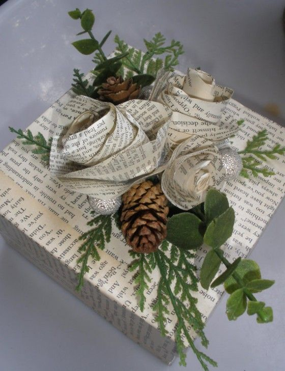 Winter White paper roses decoupage gift box.