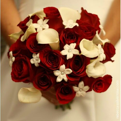 Hand Tied Bride's Bouquet: Scarlet Red Roses, White Callas, & Pearl Accented White Stephanotis·····