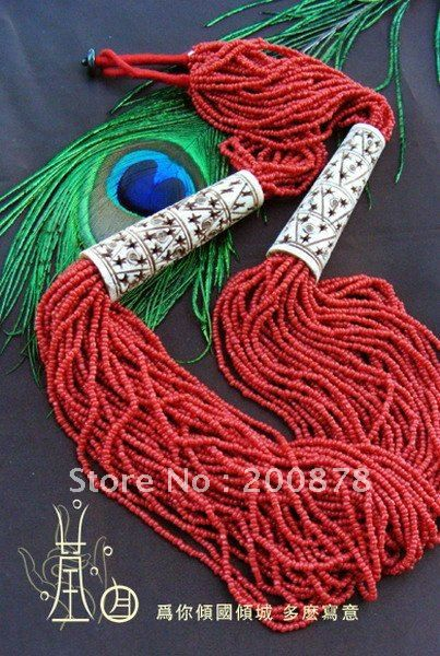 TNL362  Tibetan Yak bone carved necklace,ethnic fashion Bohemian multi strand bead statement necklace,red,Low MOQ-in Pendant Necklaces from ...