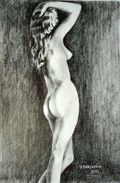 Peter Pavluvcik - naked female figure, drawing, pencil 4.