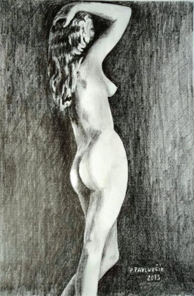 Peter Pavluvcik - naked female figure, drawing, pencil 4.
