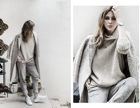 Get this look: http://lb.nu/look/7978684  More looks by Katerina Kraynova: http://lb.nu/neonrock  Items in this look:  Zara Sweater, Zara Coat, Adidas Shoes, Asos Pants   #casual #minimal #street #nude #zara #mango #stansmith #oversized