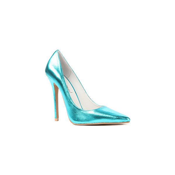 Jeffrey Campbell The Darling Shoe in Metallic Teal (Exclusive) (165 BRL) ❤ liked on Polyvore featuring shoes, blue, jeffrey campbell shoes, checkerboard shoes, metallic leather shoes, metallic high heel shoes and teal shoes