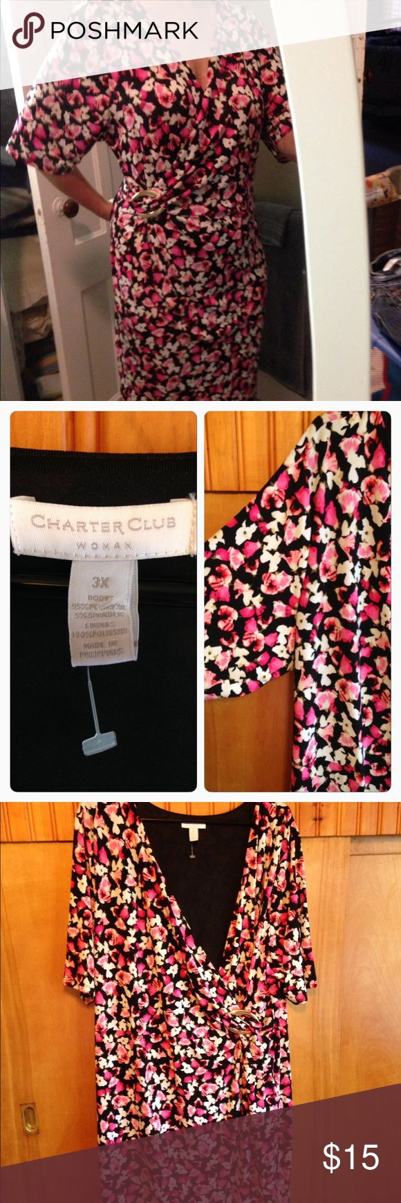 Charter Club faux wrap dress Beautiful dress for that summer wedding or class reunion 95% polyester 5% spandex for a comfortable fit. This dress is a 3X- when I took a photo I cinched it at the waist to give you a better picture. Cute gold buckle at left side of waist Charter Club Dresses