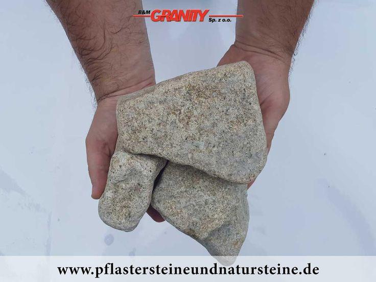 Ziersteine / Gerundete (getrommelte) Steine aus Granit, gelb (trocken) für Gabionen