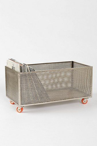 Perforated Metal Rolling Storage Bin. Iu0027d Love To Put A Reclaimed Wood Top