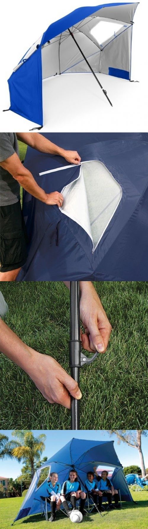 Canopies and Shelters 179011: Super-Brella Beach Umbrella Rain Shelter Sun Tent Large Canopy Sideway Wind Blue BUY IT NOW ONLY: $50.39