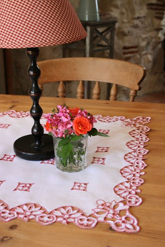 French Vintage Square CutWork Table Mat with Red by Chezpetitpica, €8.00