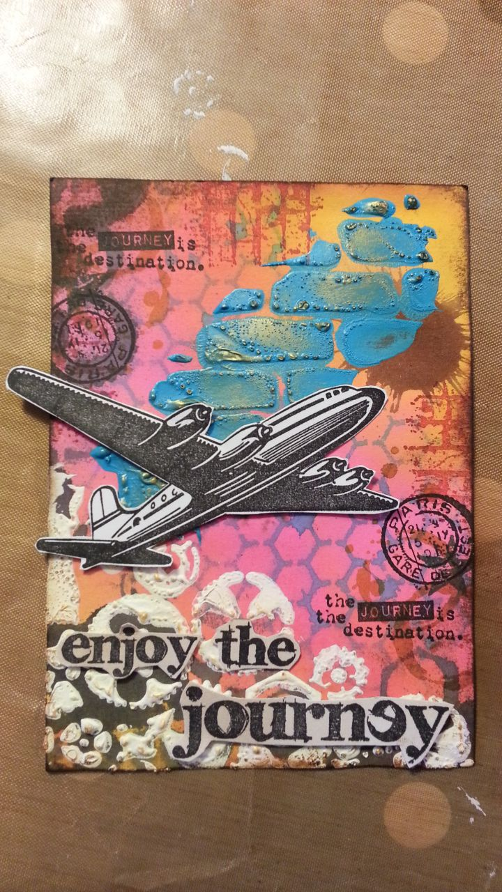a mixed media card with a travel theme - sprays, stencils, acrylic paint, stamps from tim holtz