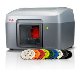 Desktop 3D printer with color model inside, and gears