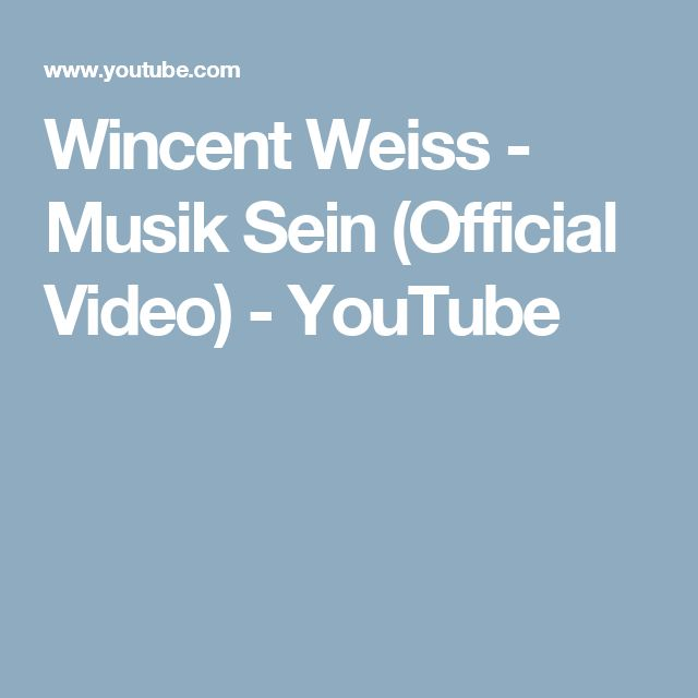 Wincent Weiss - Musik Sein (Official Video) - YouTube