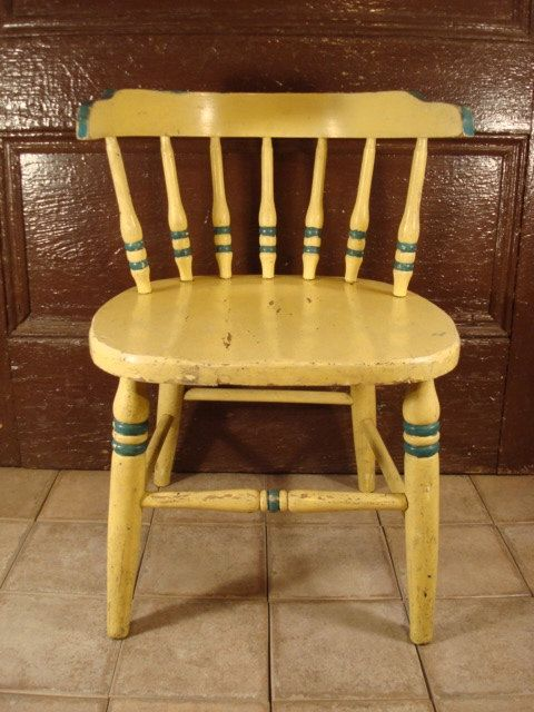 Vintage wood child's chair- solid, some wear, yellow paint with blue trim, sweet by HeathersCollectibles on Etsy