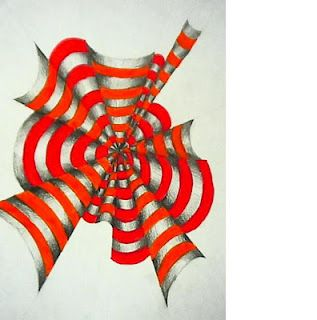 different take on op art. I have personally done these with students and they almost always look amazing.