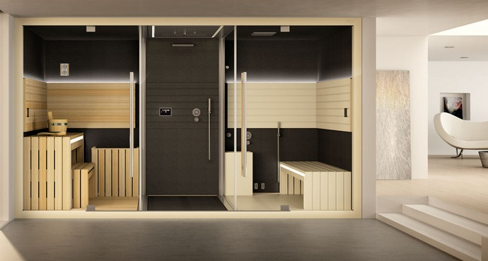 Sasha 2.0 - A new wellness concept invented by Jacuz\zi offering an emotional shower, sauna and hammam in just 8.0 sq m.