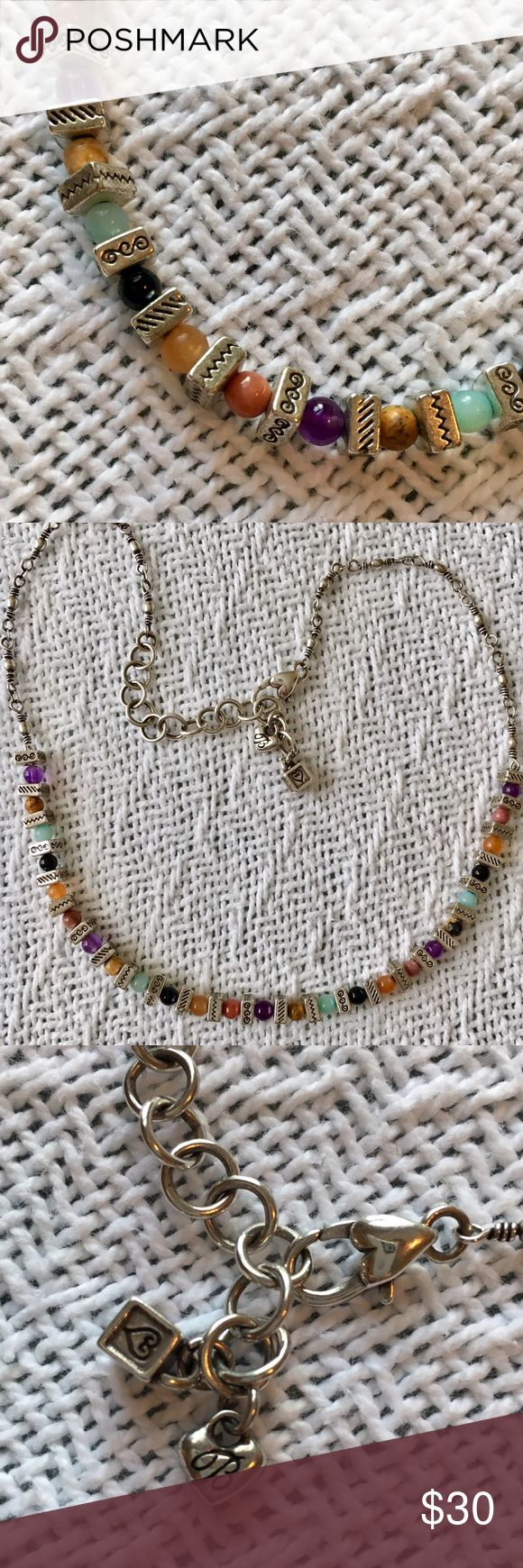 Brighton Confetti 🎉Necklace (Retired) 👀!!👍🏻 This retired necklace is a kaleidoscope of color! Gem stones include jasper, black onyx, amethyst, orange quartzite, light green quartzite and rhodonite (per QVC website). Lobster claw clasp. Brighton Jewelry Necklaces