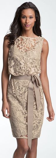 Tadashi Shoji Lace Overlay Ribbon Dress♥✤Mother of the bride  I like the blousy bodice and the length