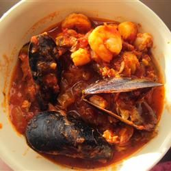 Seafood Cioppino Allrecipes.com  Made this last night w Trader Joes frozen seafood mix and was DELISH!