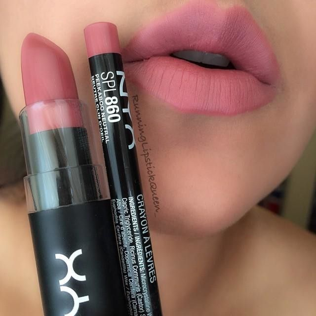 "NYX ""Whipped Caviar"" lipstick over NYX ""Peekaboo Neutral"" lip liner"