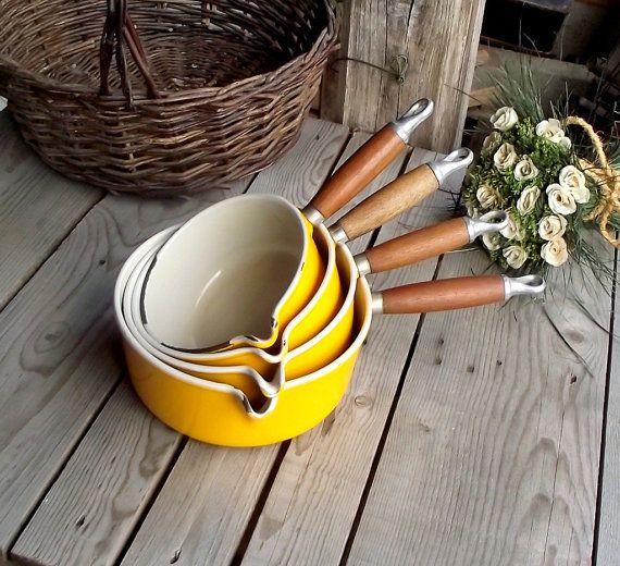 Le Creuset Saucepan Set  Yellow Enamel Cast by MyFrenchBricABrac