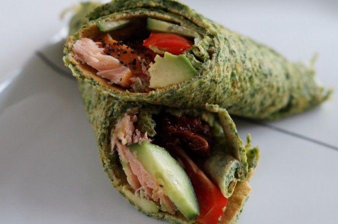 Spinatpandekager med laks og avocado - Julie Bruun
