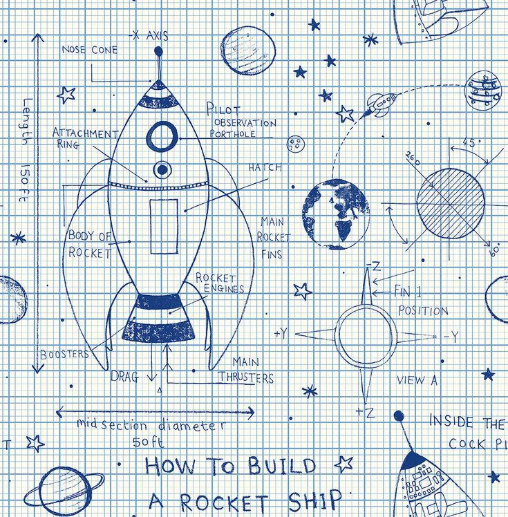 How to Build a Rocketship Wallpaper Pajama party, Rocket