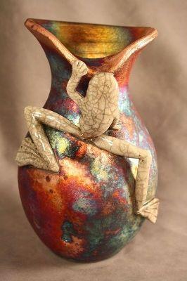 Unique raku pottery frog vase raku pottery by nolan for Unusual pottery ideas